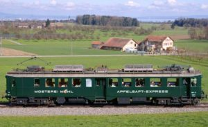 Mosterei Möhl's Apfelsaft-Express an erhöhter Lage bei Muolen, im Hintergrund der Bodensee. | Bild: Ivo Rutishauser