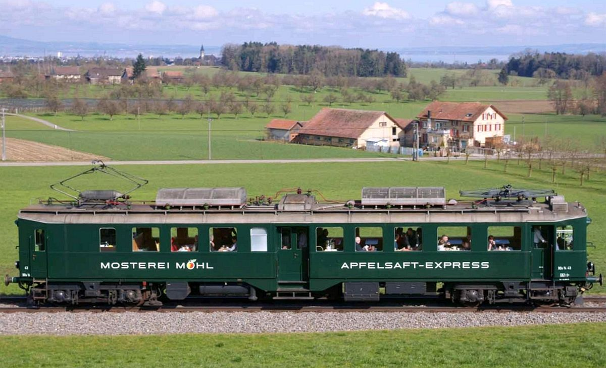 Mosterei Möhl's Apfelsaft-Express an erhöhter Lage bei Muolen, im Hintergrund der Bodensee.   Bild: Ivo Rutishauser