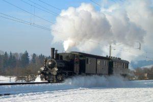 Tigerli E 3/3 Nr. 3 mit 2 historischen Wagen unterwegs mit viel Dampf und Flugschnee in der Winterlandschaft mit blauen Himmel zwischen Bischofszell und Hauptwil am 29. November 2008 | Bild: Denise Giesser