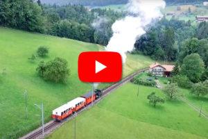 Eh 2/2 RHB 3 mit 3 Wagen vor Heiden Drohnenaufnahme YouTube | Quelle: YouTube