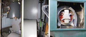 Bild-Collage mit elektrischen Bauteilen des Apfelsaft-Express BDe 3/4 43, welche wie neu glänzen: Hauptschalter, Hochspannungseinführung, Ventilatormotor. 10.11.2018 | Collage: H.U. Kneuss