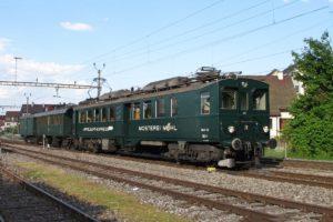 Apfelsaft-Express BDe 3/4 43 steht zusammen mit der Thurgauer-Stube C 5820 und dem Gepäckwagen F 17122 im Bahnhof Steckborn, 28.05.2016 | Bild: H.U. Kneuss