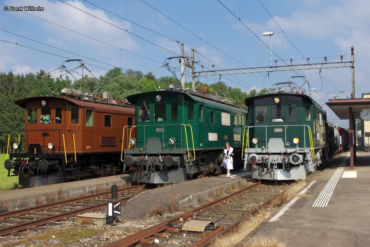 Drei Be 4/4 der ehemaligen Bodensee-Toggenburg-Bahn stehen im Bahnhof Neukirch nebeneinander: BT-14 in braun/schwarz, BT-11 in grün/dunkelgrau, BT-15 in grün/hellgrau. 26. September 2015   Bild: Frank Wilhelm