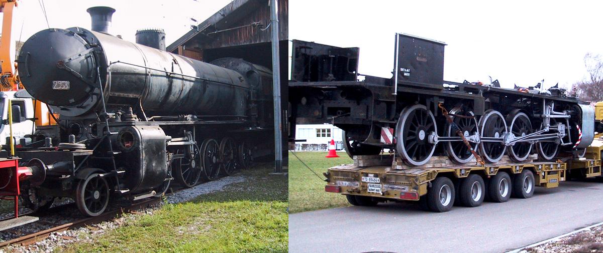 Bildcollage: links die C 5/6 2958 Kessel und Rahmen, rechts C 5/6 2969 Rahmen auf einem Strassen-Tieflader verladen | Bild: M. Simmons