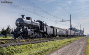 Unser Gotthard-Elefant Dampflok C 5/6 2969 mit dem Extrazug am Haken in einem stimmungsvollen Foto, aufgenommen bei Güttingen auf der Seelinie am 14. September 2019 | Bild: Justin Meckmann