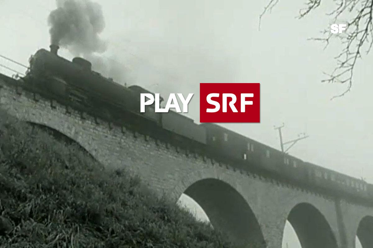 Standbild der C5/6 2969 auf Brücke im Video Letzte Fahrt des Schweizer Fernsehens   Quelle: SRF