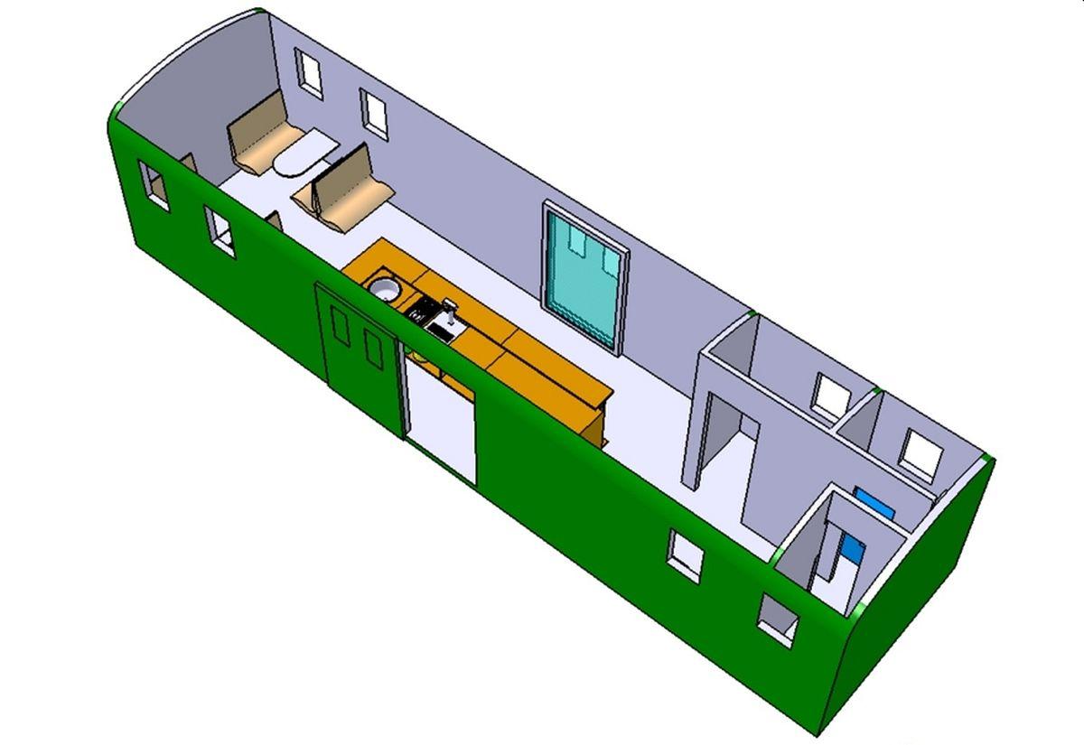 CAD Illustration des geplanten Innenausbaus mit Bar und Sitzplätzen des Gepäckwagens F2 17122 | Bild: Riccardo Keller