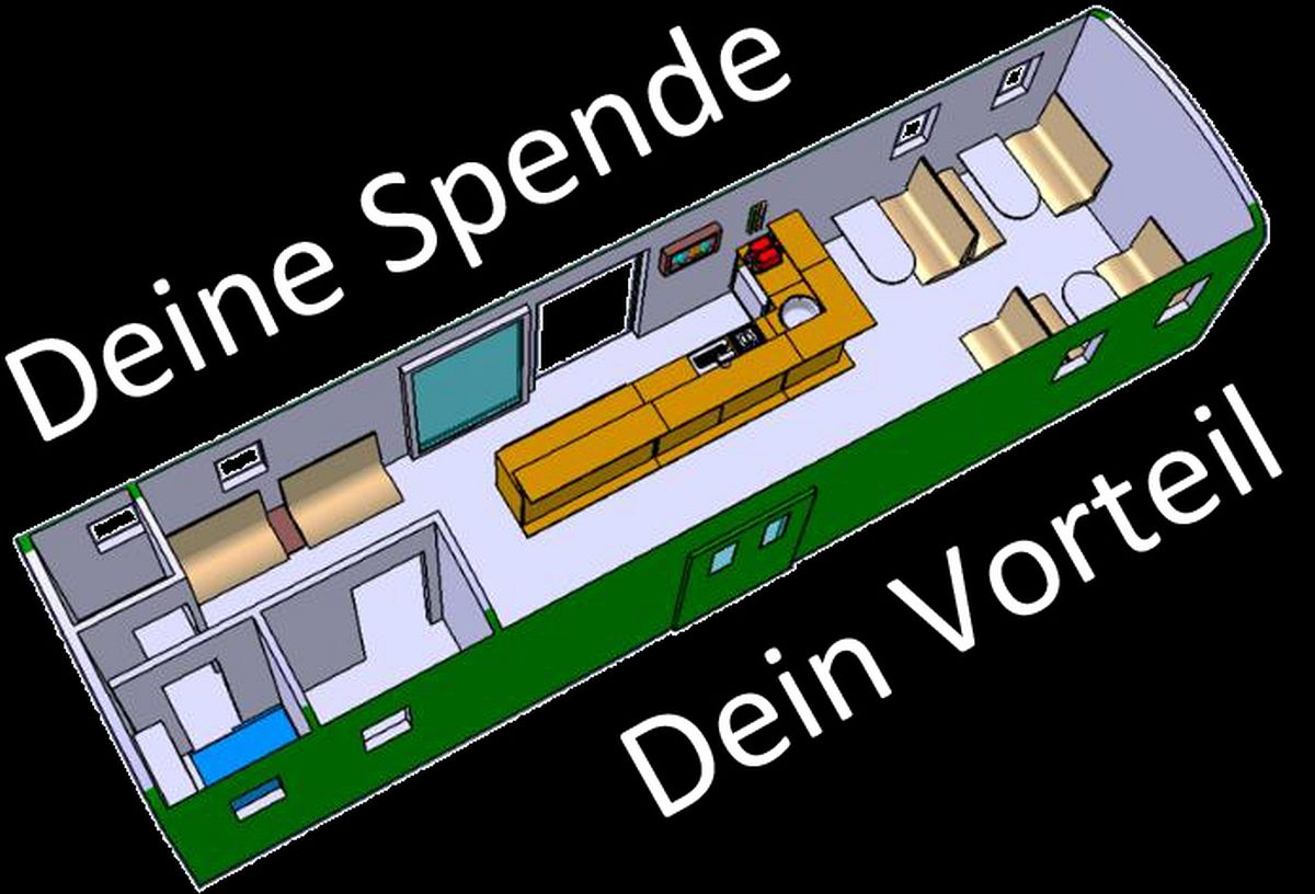 CAD Illustration des geplanten Innenausbaus mit Bar und Sitzplätzen des Gepäckwagens F 17122   Bild: Riccardo Keller