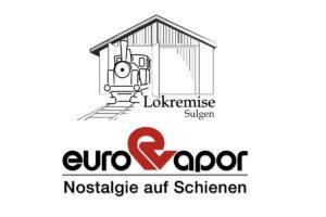 Logo der Lokremise Sulgen mit Dampflok im offenen Remisentor und das altbekannte Logo der Eurovapor untereinander