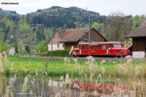 Der knallrote RBe 2/2 OeBB 202 spiegelt sich im Weiher bei Saland 01. Mai 2012   Bild: Heinz Baumann