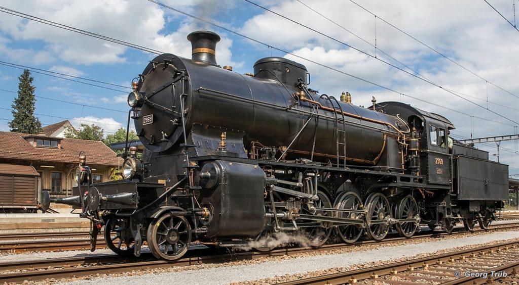 Am Bahnhof Sulgen wird am 05. August 2017 unsere Dampflok C5/6 2969 «Elefant» während den Probefahrten nach rund 48 Jahren Stillstand auf die Funktionsweise geprüft. Bild: Georg Trüb