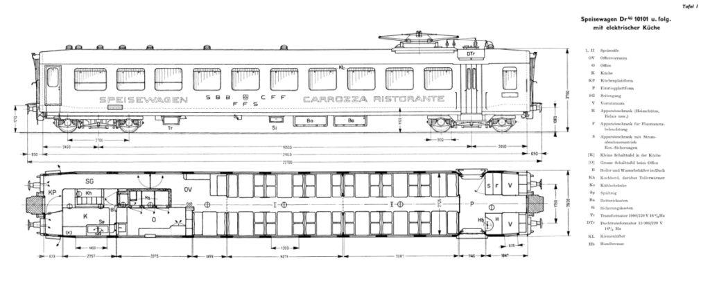Typenskizze des Leichtstahl Speisewagen Dr4ü 10119 , oben Aussenansicht und darunter die Inneneinrichtung