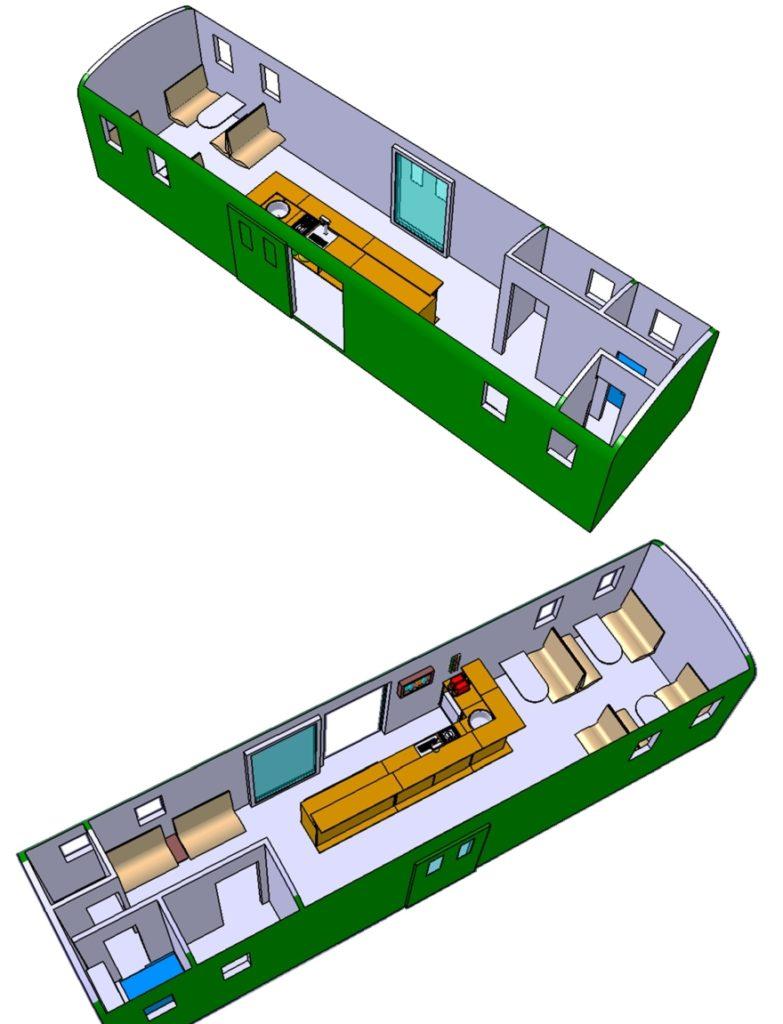 CAD Illustration mit zwei Ansichten des geplanten Innenausbaus mit Bar und Sitzplätzen des Gepäckwagens F2 17122 | Bild: Riccardo Keller