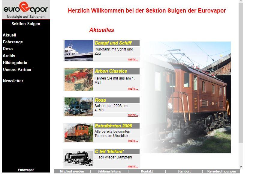Bildschirmfoto der Homepage von 2001 bis 2007