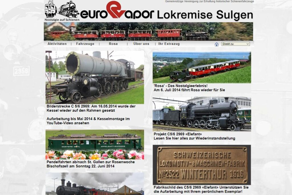 Bildschirmfoto der Homepage von 2007 bis 2014