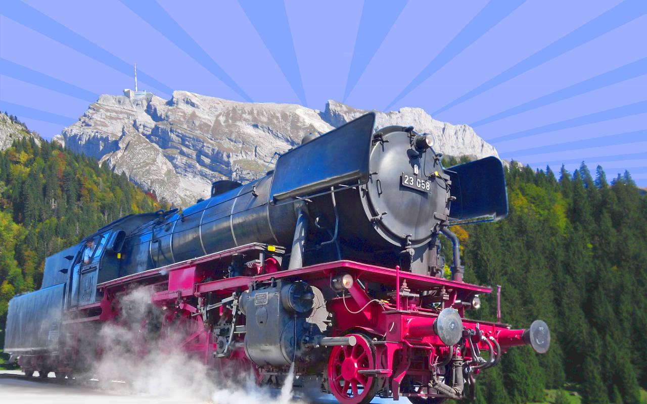 Dampflok 23 058 vor den Säntis-Massiv als Bildzusammenstellung für die Werbung der Thurgau-Säntis-Rundfahrt vom 02. Oktober 2021