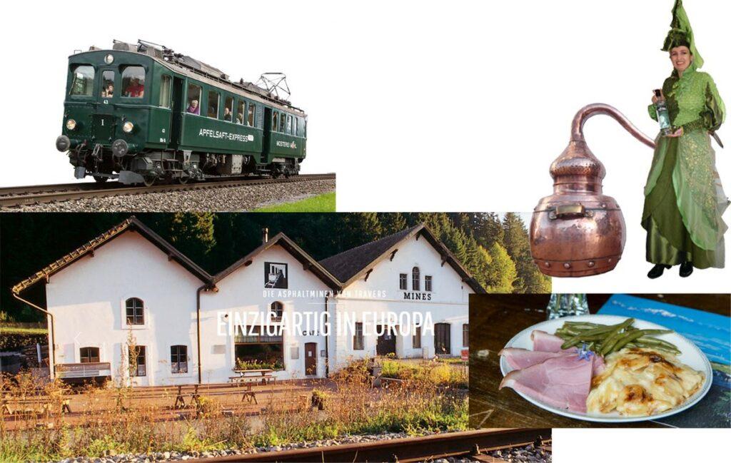 Werbung Ins Val de Travers und Besuch der Absynth-Fee mit dem Apfelsaft-Express 29. August 2021